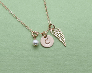 Rose Gold Memory Charm Necklace, Angel Wing Pendant, Memorial Jewelry, Remembrance Loss Necklace, With Birthstone and Initial
