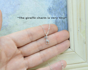 Sterling Silver Tiny Giraffe Charm Necklace, Baby Giraffe Pendant, Present for Friend, Simple Animal Necklace, Add Initial or Birthstone