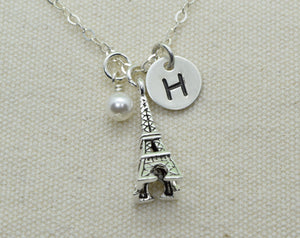 Sterling Silver Eiffel Tower Necklace, Paris Pendant, France Visit Memory Necklace, Travel Gift, Birthday Gift, Add Initial and Birthstone