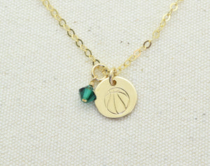 Gold Filled Basketball Charm Necklace, Baskerball Pendant, Sports Team Gift, Sports Mom Gift, Add Birthstone or Team Colors