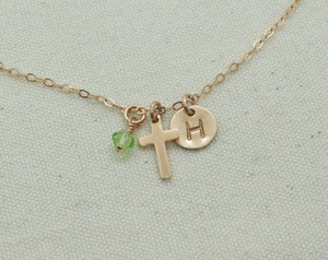 Tiny Rose Gold Cross Charm Necklace, Small Cross Pendant, Baptism Christening Gift, First Communion, With Birthstone and Initial