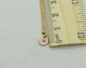 Rose Gold Tiny Initial Necklace with Birthstone Crystal, Monogram Charm with Birthstone Bead, Letter Necklace, Round Letter Charm Necklace
