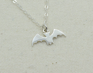 Sterling Silver Bat Charm Necklace, Bat Wing Pendant, Halloween Jewelry, Personalized Charm Necklace, Add Initial and Birthstone