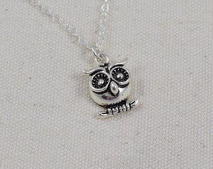 Sterling Silver Owl Charm Necklace with Personalized, Initial and Birthstone, Bird Necklace, Woodland Creatures Jewelry, Gift for Her