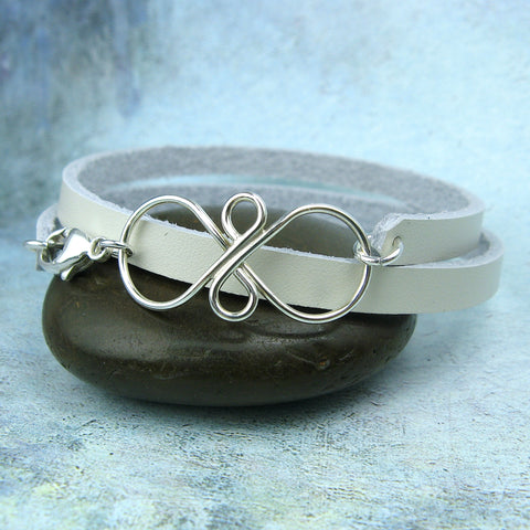 Infinity Leather Wrap Bracelet - Cloverleaf Jewelry