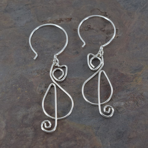Kitschy Cats Silver Earrings - Cloverleaf Jewelry