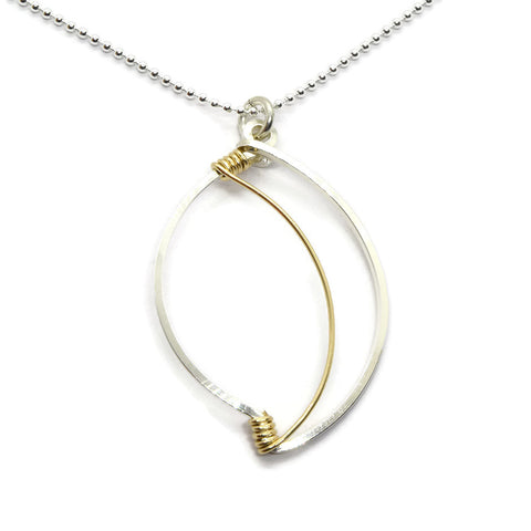 Leaf Silver and Gold Necklace - Cloverleaf Jewelry