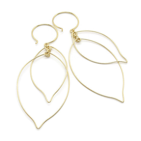 Leaves Interlocking Gold Earrings