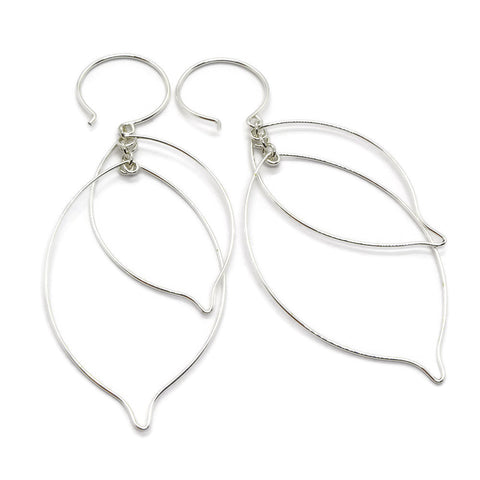 Leaves Interlocking Silver Earrings