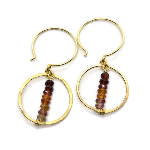 Lyra Gold Gemstone Earrings, Tunduru Sapphire
