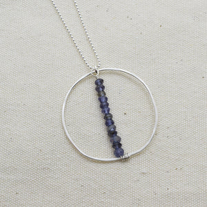 Lyra Silver Gemstone Necklace, Iolite - Cloverleaf Jewelry
