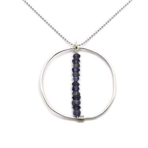 Lyra Silver Gemstone Necklace, Iolite