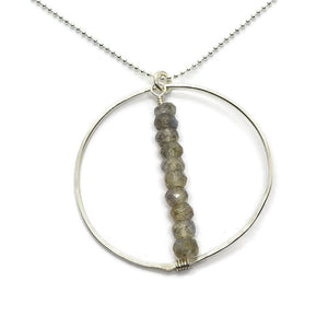 Lyra Silver Gemstone Necklace, Labradorite