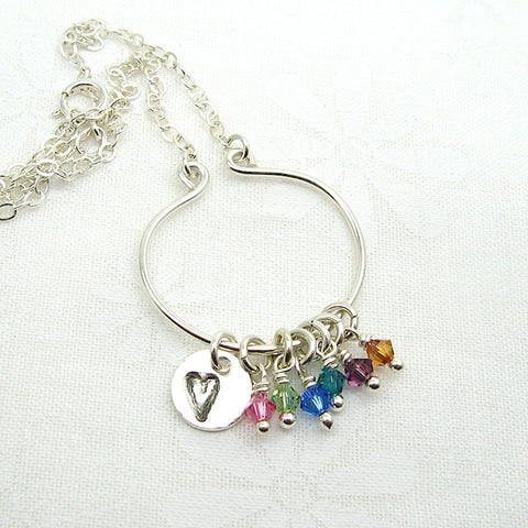 Lyre Birthstone Necklace with Heart Charm, Large - Cloverleaf Jewelry