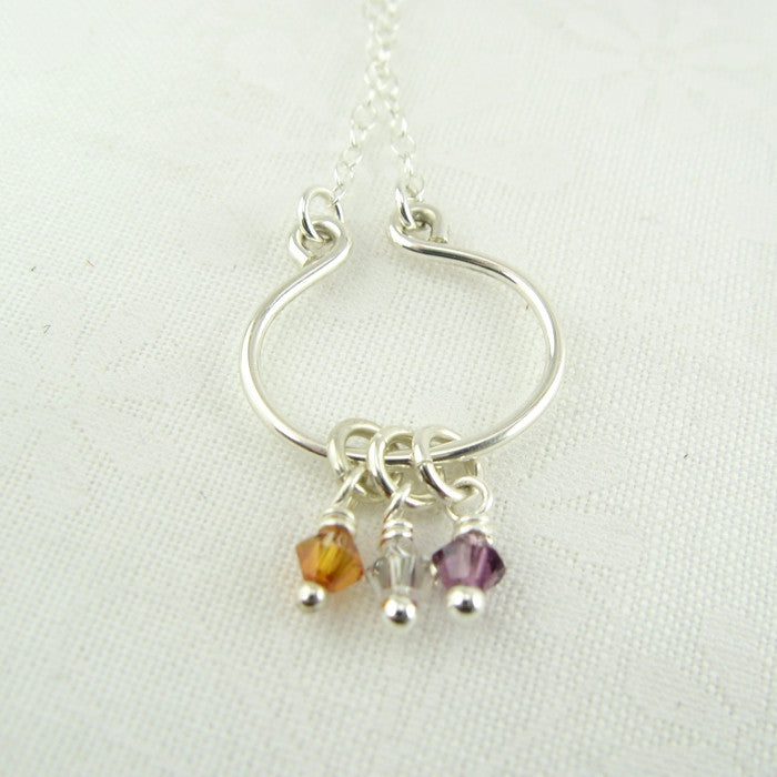 Lyre Silver Birthstone Necklace, Small