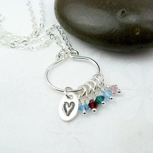 Lyre Birthstone Necklace with Heart Charm, Small