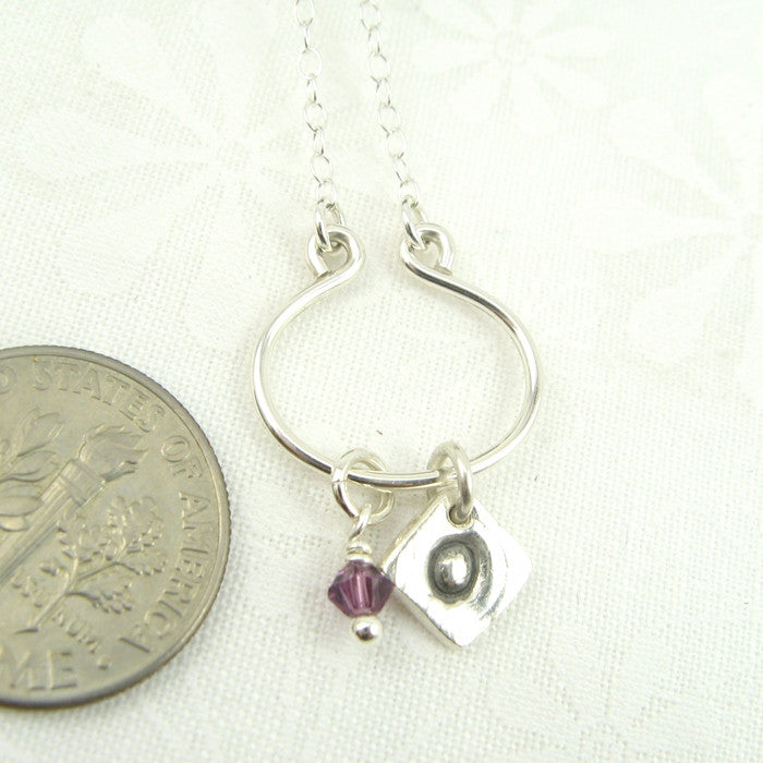Lyre Silver Min-I-nitials Necklace, Small - Cloverleaf Jewelry