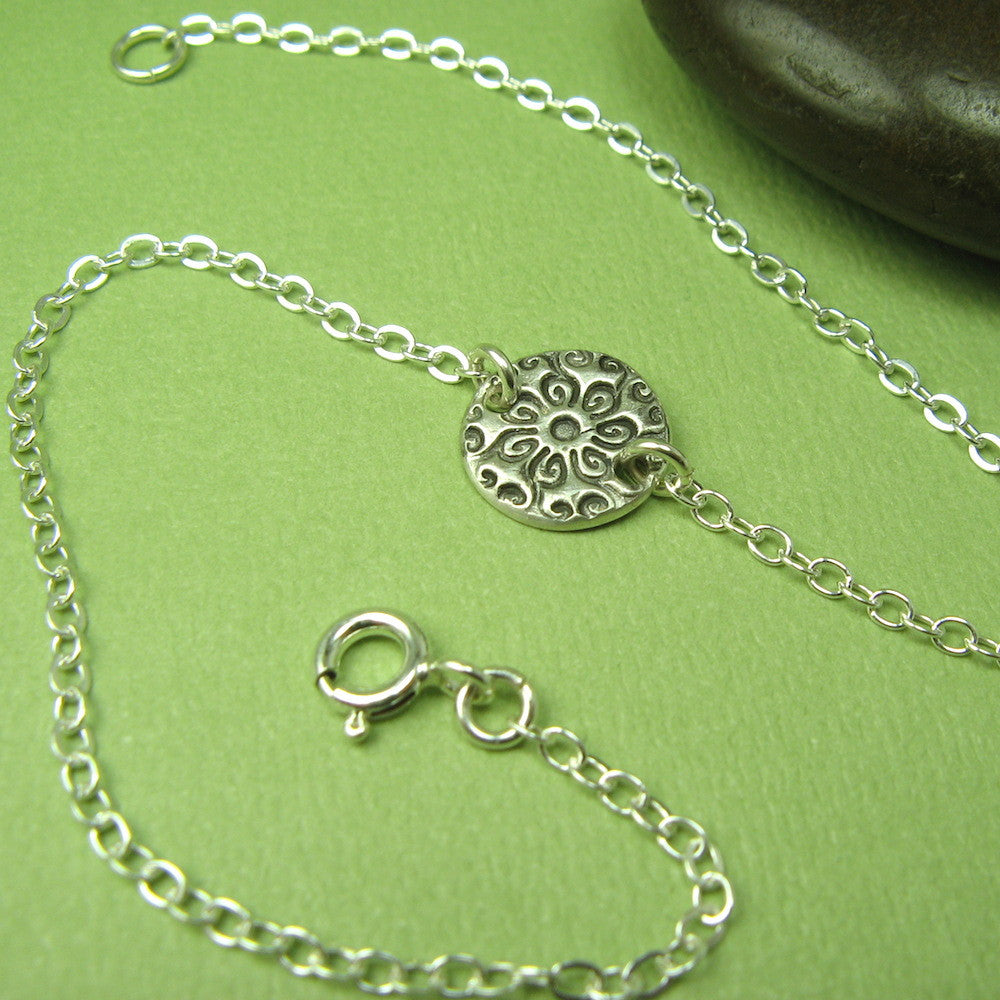 Medallion Silver Anklet, Circle - Cloverleaf Jewelry