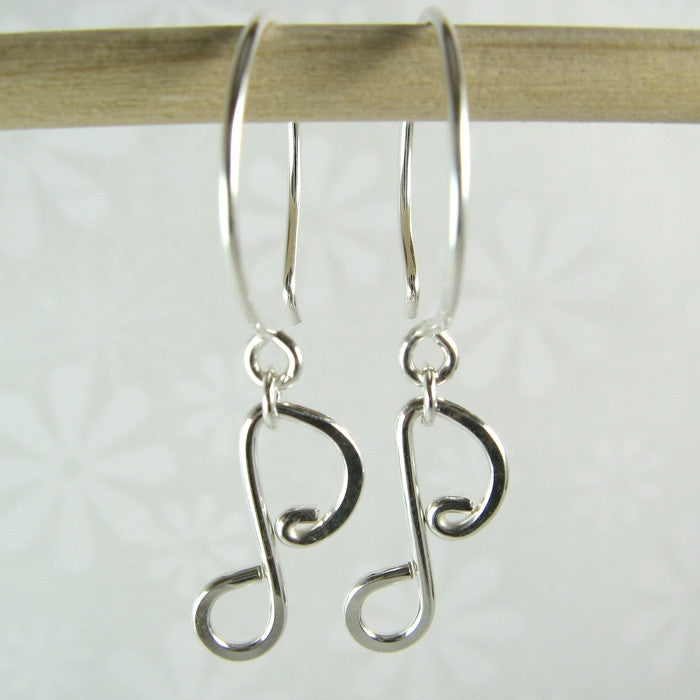 Melody Eighth Note Silver Earrings - Cloverleaf Jewelry