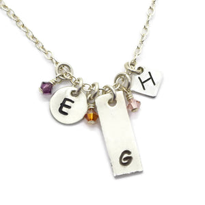 Min-I-nitials Silver Family Necklace