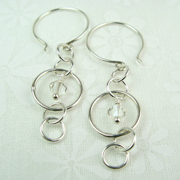 Mystic Silver Earrings with Crystal - Cloverleaf Jewelry