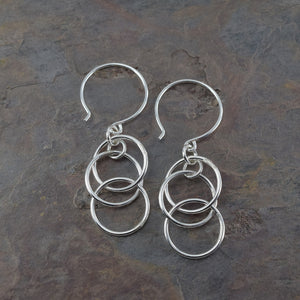 Mystic Triple Ring Silver Earrings