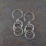 Mystic Triple Ring Silver Earrings - Cloverleaf Jewelry