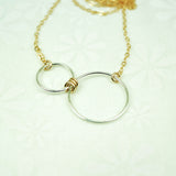 Nexus Gold and Silver Horizontal Necklace - Cloverleaf Jewelry