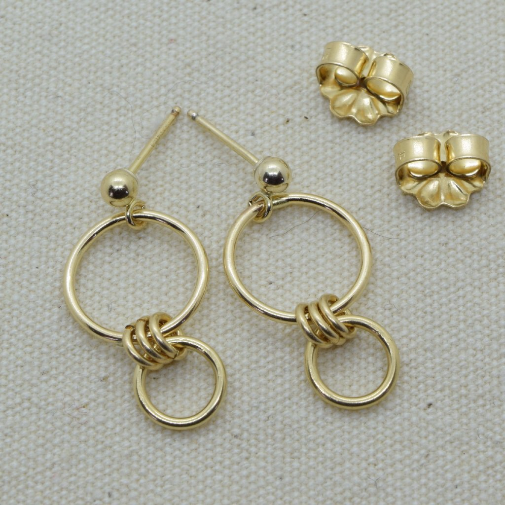 Nexus Gold Ball Post Silver Earrings