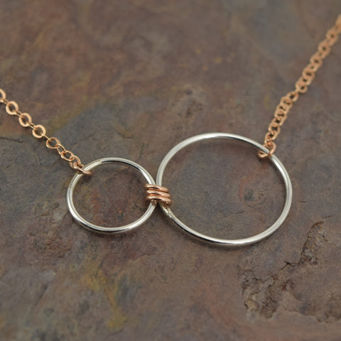 Nexus Rose Gold and Silver Horizontal Necklace - Cloverleaf Jewelry