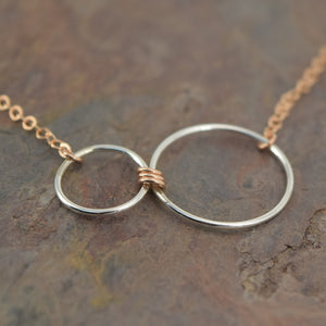 Nexus Rose Gold and Silver Horizontal Necklace