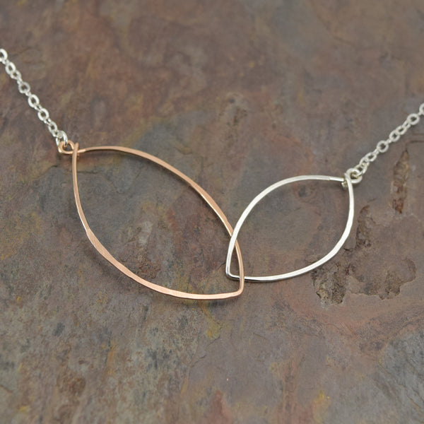Petals Silver with Rose Gold Necklace - Cloverleaf Jewelry