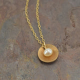 Pod Gold Necklace with Pearl - Cloverleaf Jewelry