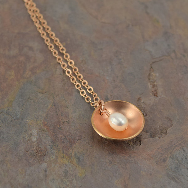 Pod Rose Gold Necklace with Pearl - Cloverleaf Jewelry
