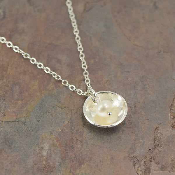 Pod Silver Necklace with Pearl - Cloverleaf Jewelry