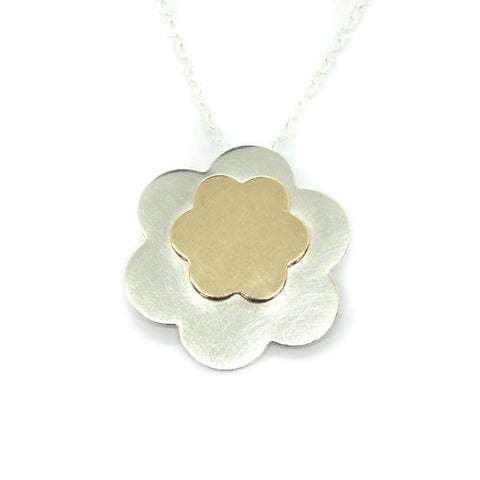 Posy Silver and Gold Flower Necklace, Large