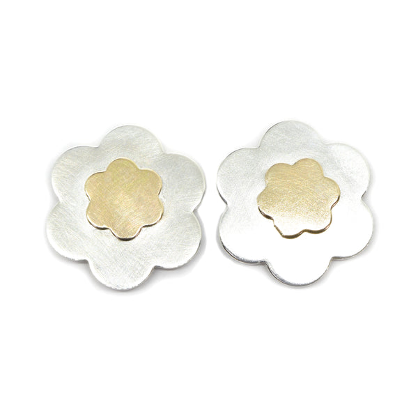 Posy Silver and Gold Flower Earrings. Large