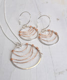 Ripple Silver and Rose Gold Earrings - Cloverleaf Jewelry