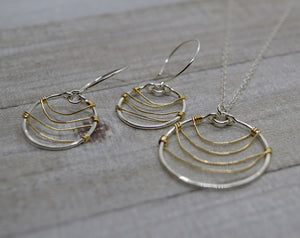 Ripple Silver and Gold Earrings