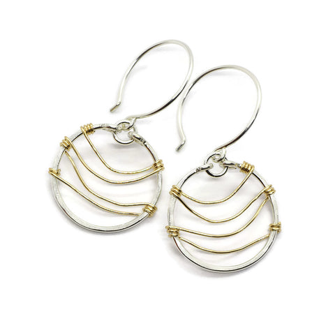 Ripple Silver and Gold Earrings - Cloverleaf Jewelry