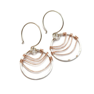 Ripple Silver and Rose Gold Earrings