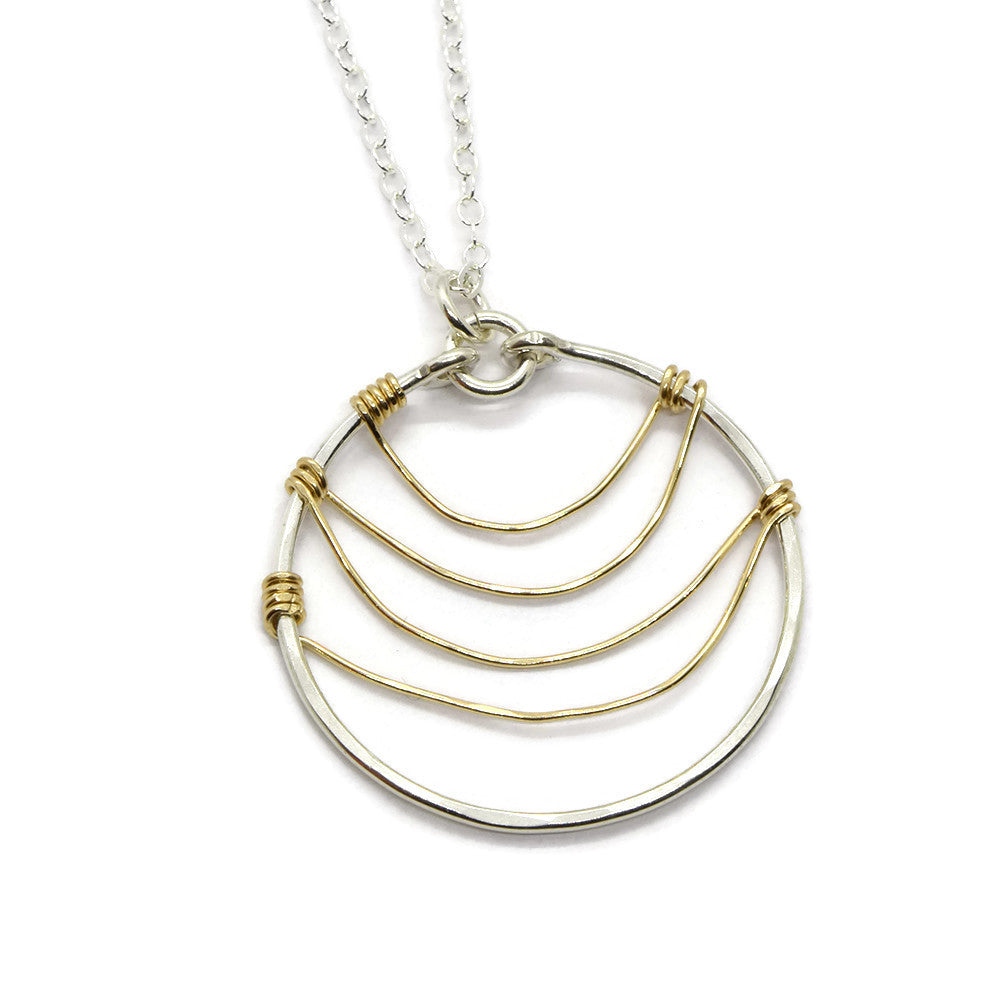 Ripple Silver and Gold Necklace - Cloverleaf Jewelry