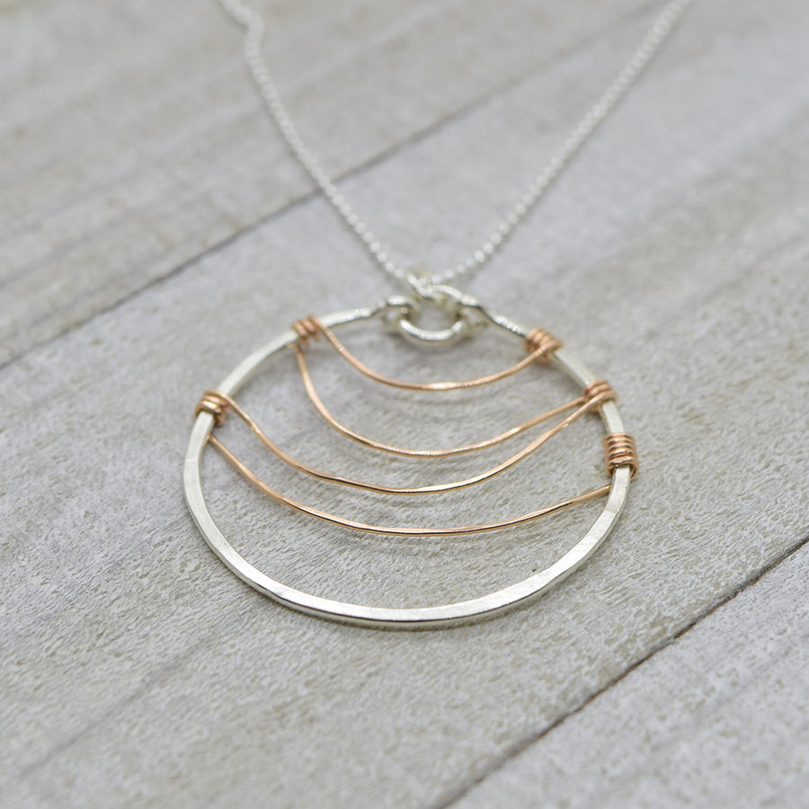 Ripple Silver and Rose Gold Necklace