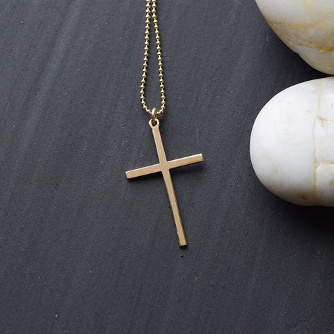 Risen Gold Cross Necklace - Cloverleaf Jewelry