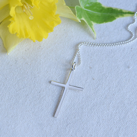 Risen Silver Cross Necklace - Cloverleaf Jewelry