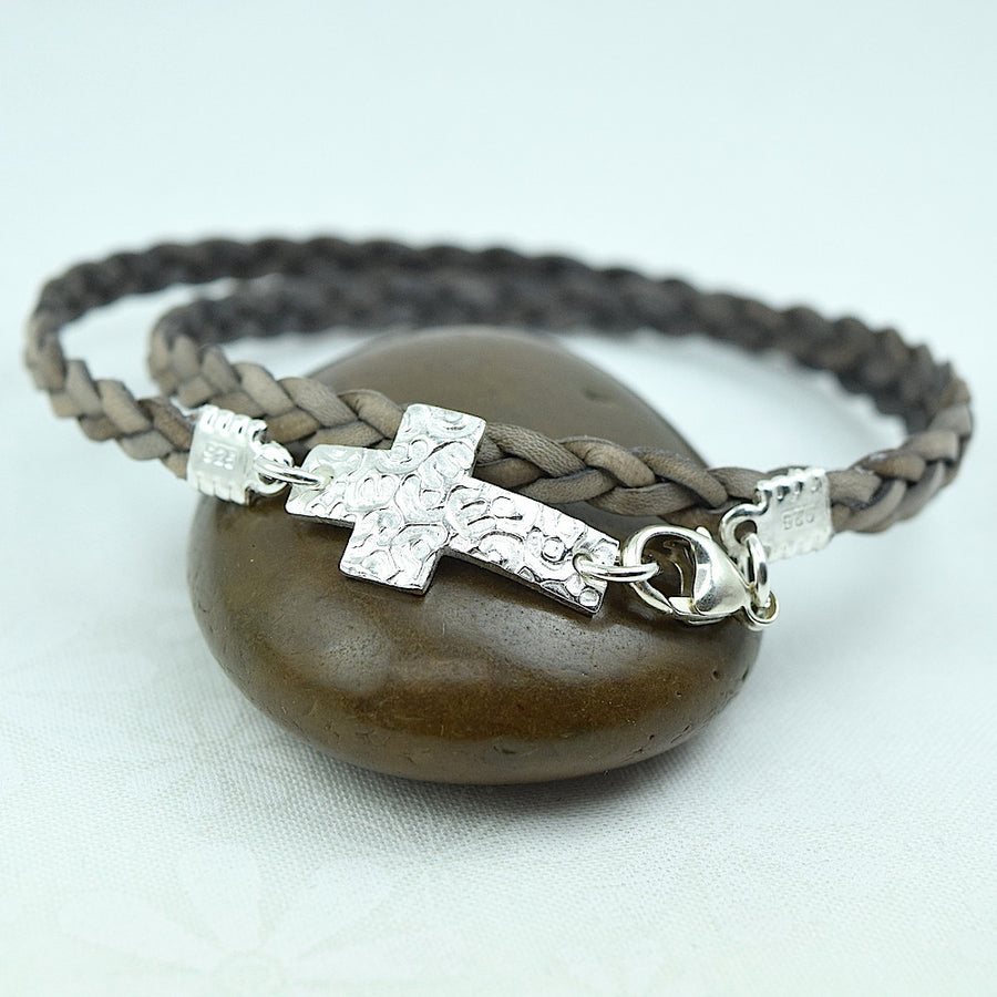 Cross Leather Wrap Bracelet