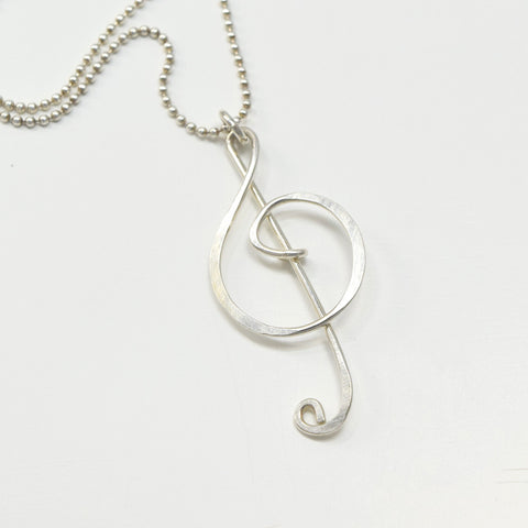 Treble Clef Silver Necklace - Cloverleaf Jewelry