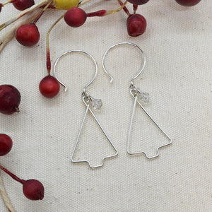 Christmas Tree Silver Earrings, Straight Side with Crystals - Cloverleaf Jewelry