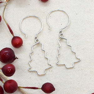 Christmas Tree Silver Earrings, Branches
