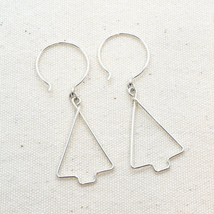 Christmas Tree Silver Earrings, Straight Side